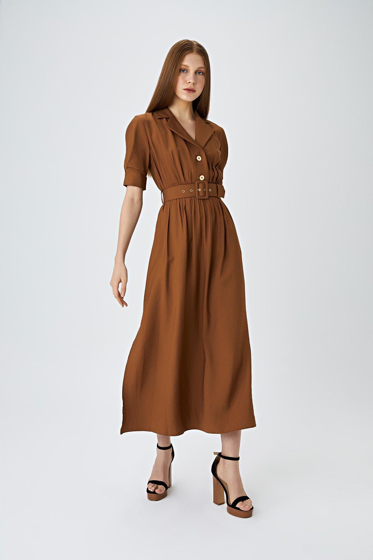 Kemerli midi elbise Kahverengi