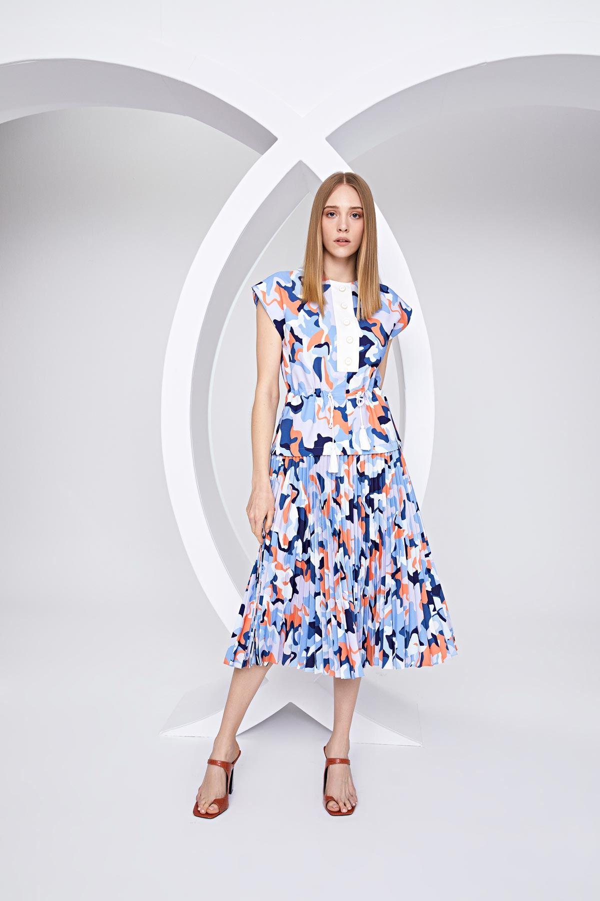 Kamuflaj desenli pilisoley elbise Mavi