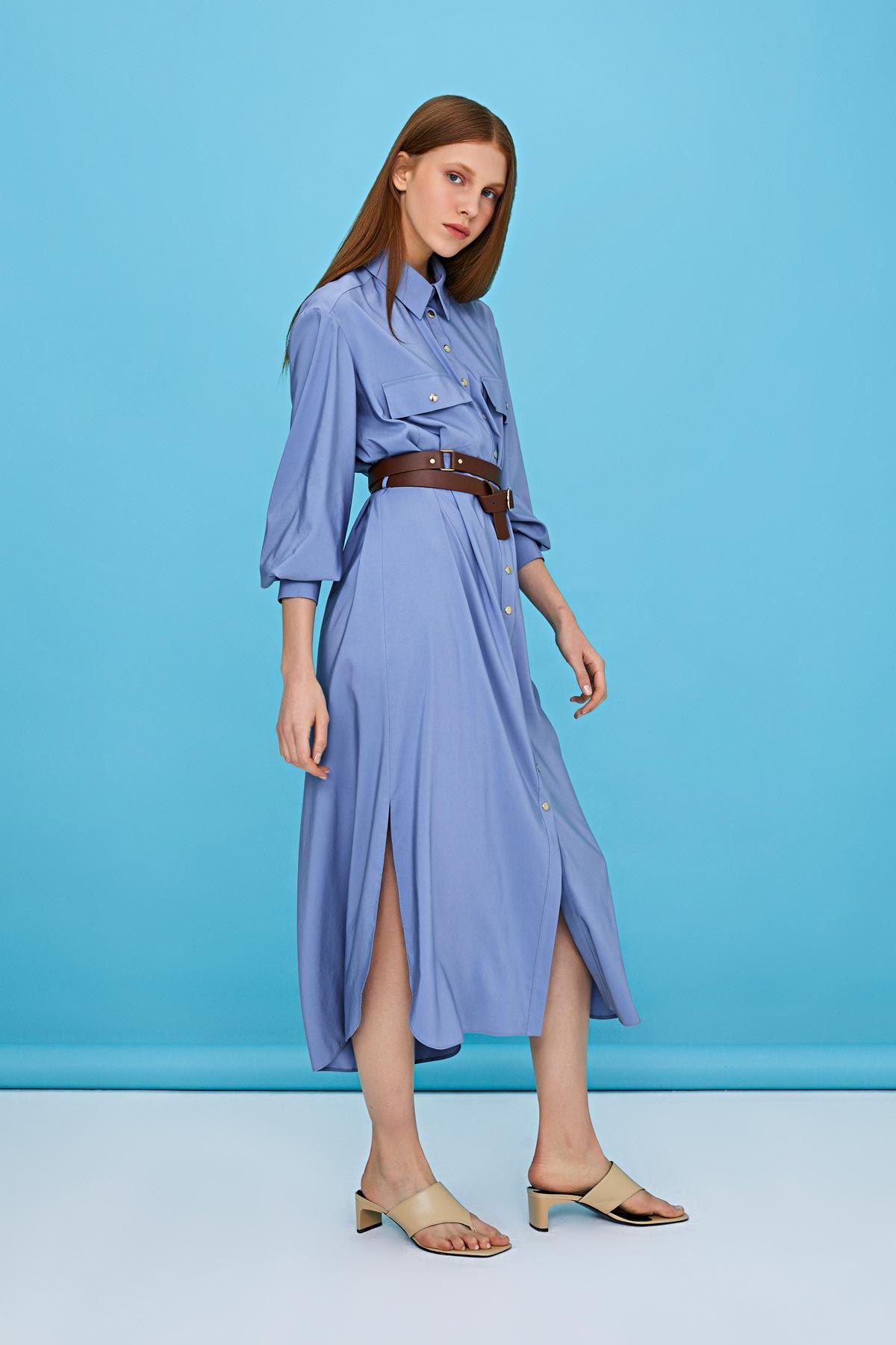 Kemerli gömlek elbise Mavi