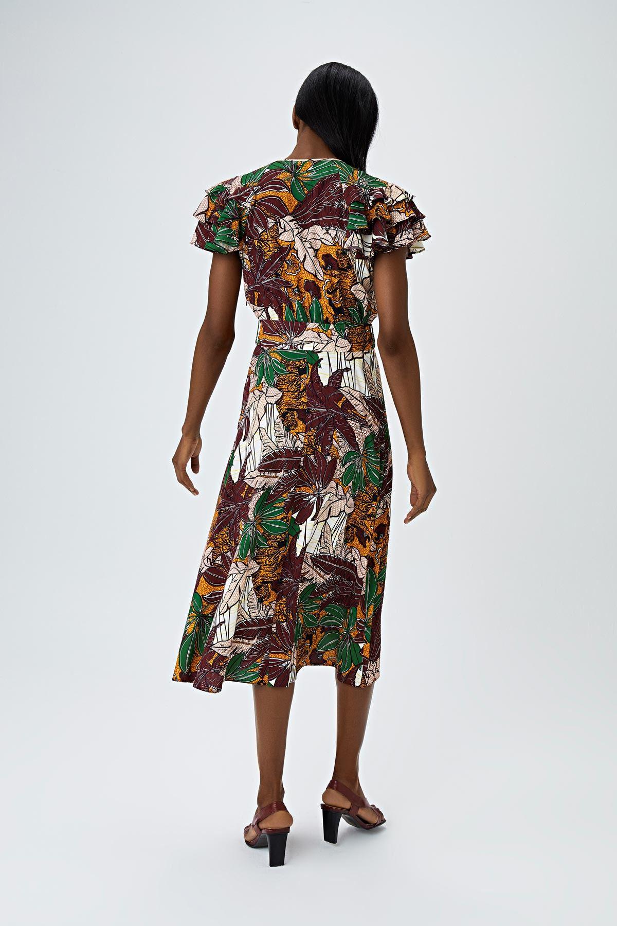 Kol volanlı safari elbise Bordo
