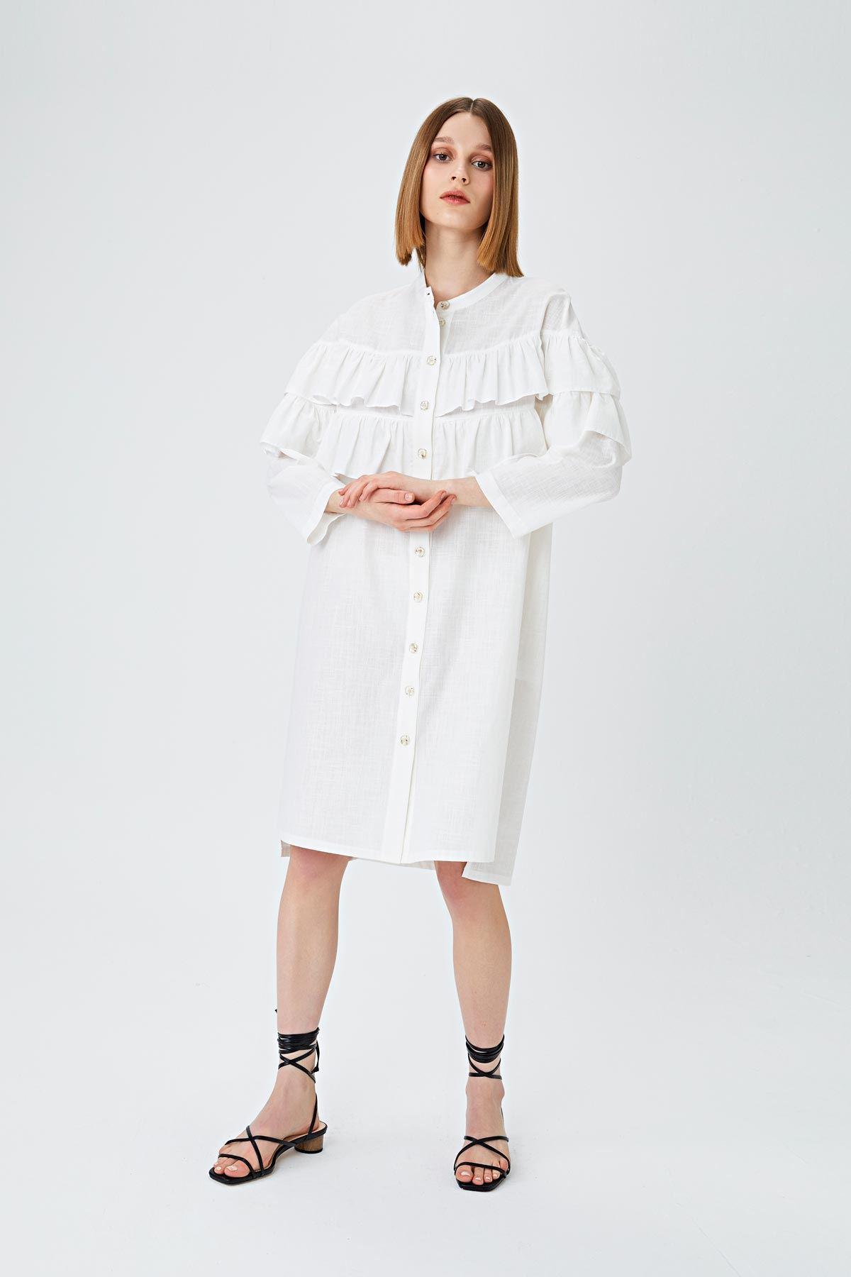 Fırfır şerit geçmeli keten elbise Ekru
