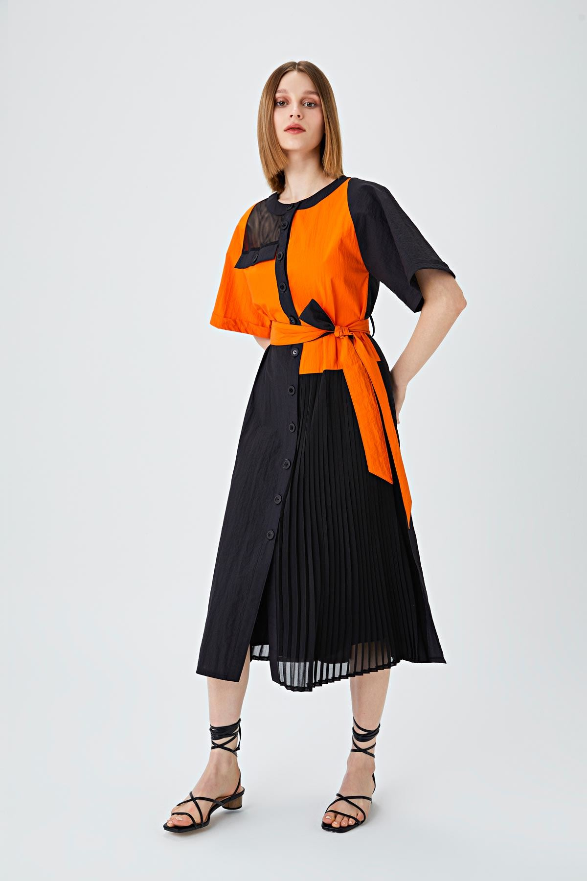 Color block elbise Siyah