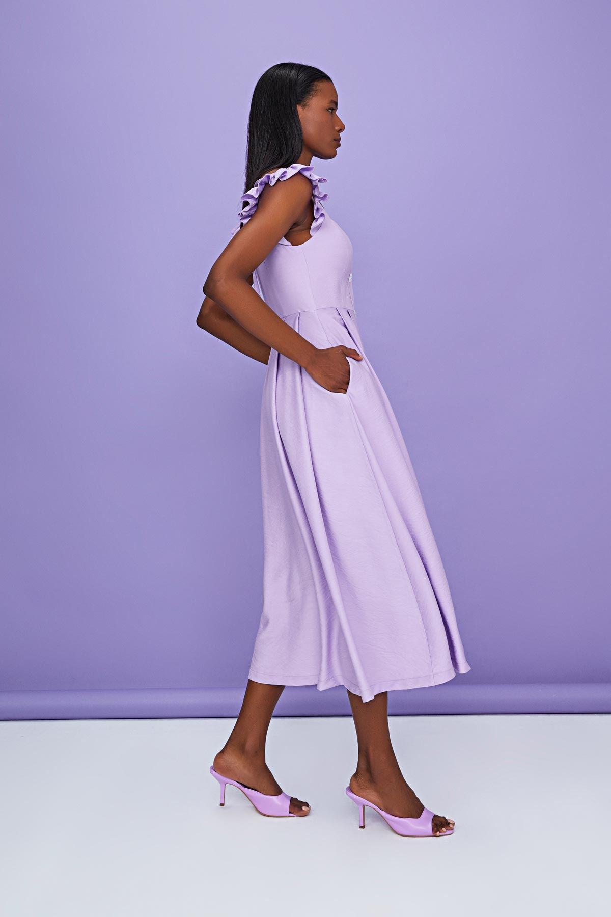 Ön düğmeli kare yaka elbise Lila