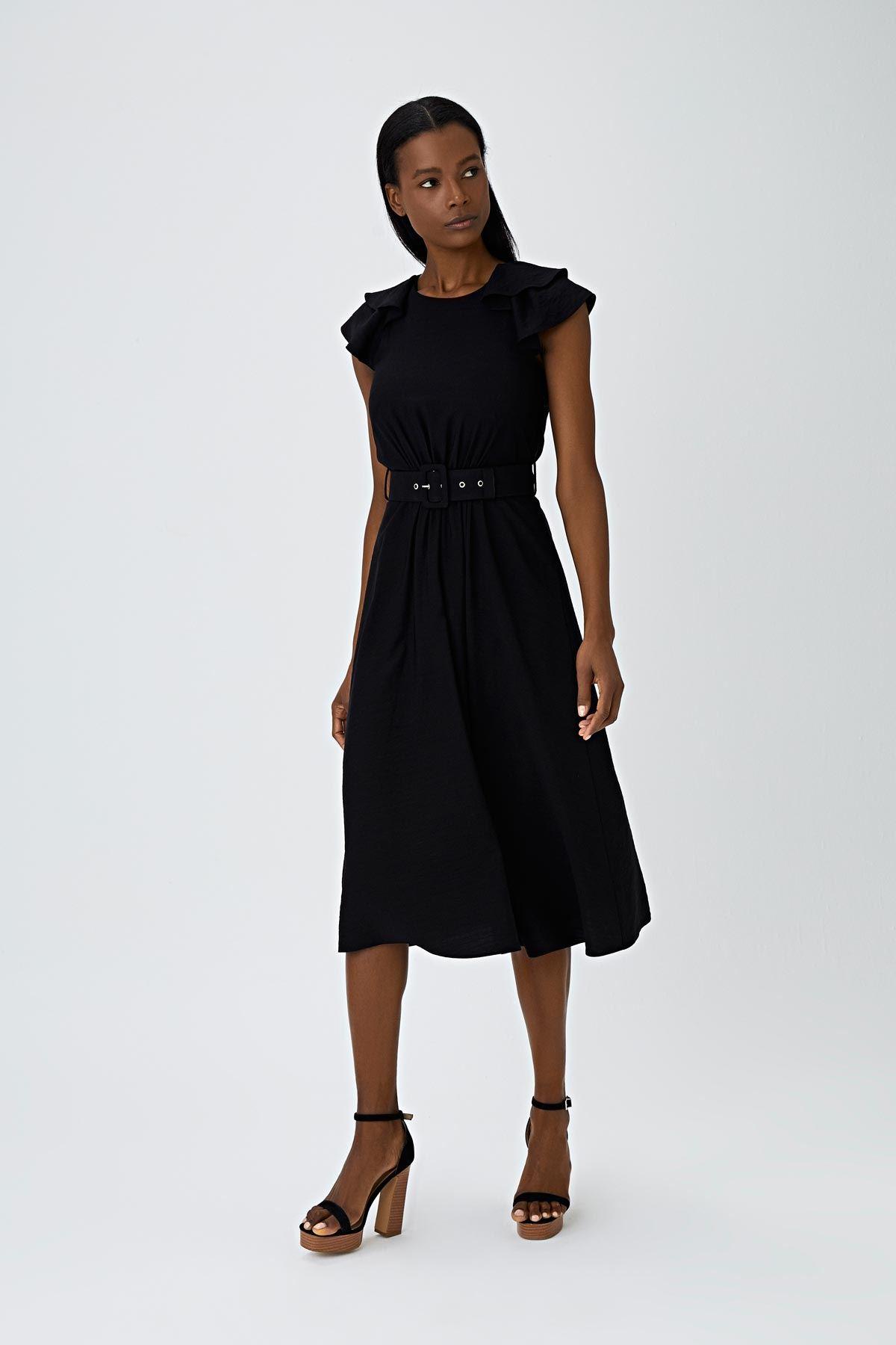 Fırfır şeritli elbise Siyah