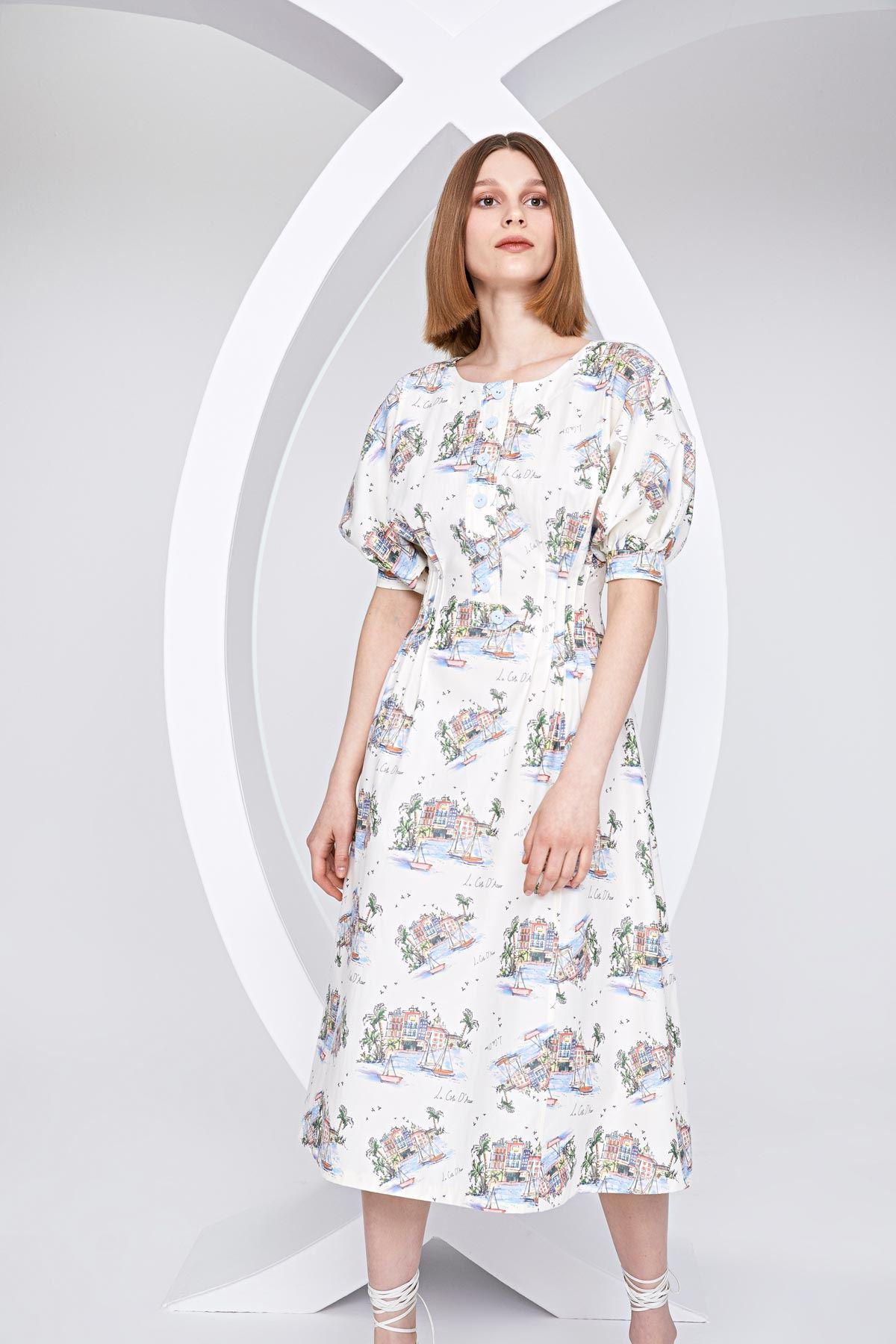 Balon kol ev baskılı elbise Ekru