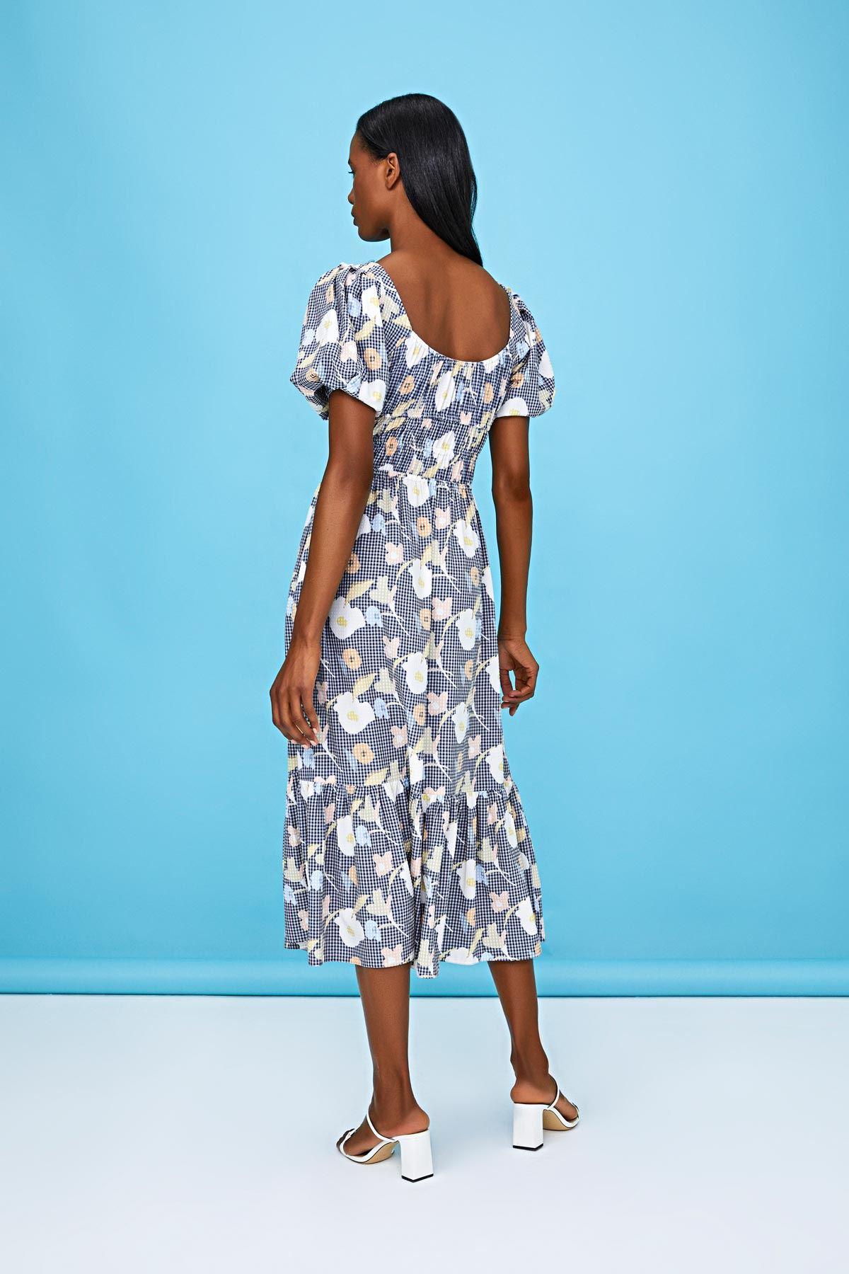 Çiçek desenli kare yaka elbise Lacivert