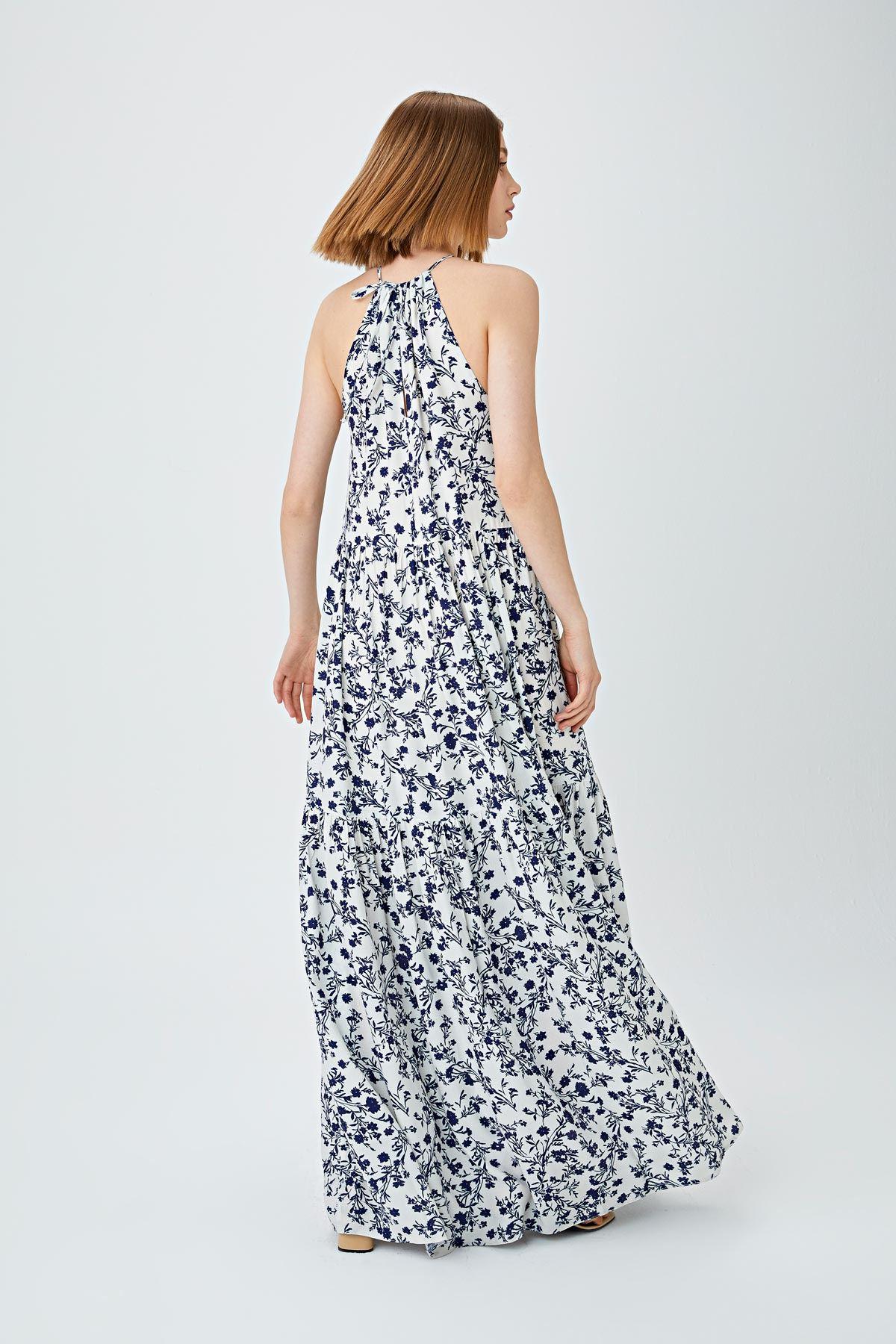 Boyundan bağlamalı büzgülü elbise Mavi