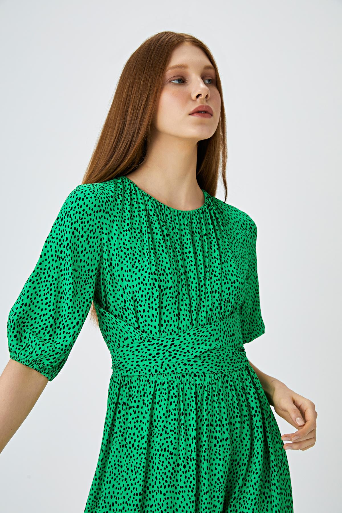 Çapraz bağlamalı oversize elbise Yeşil