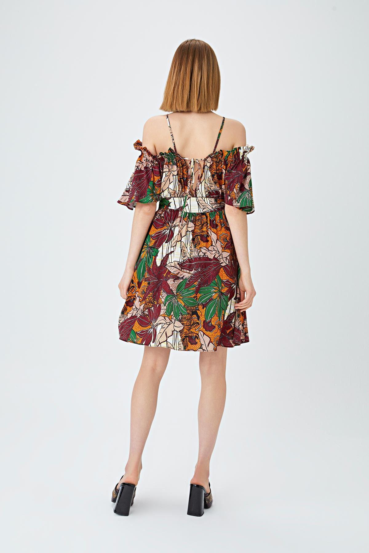 Safari desenli elbise Bordo