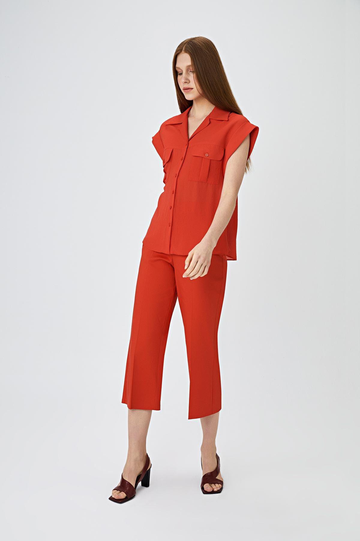 Kısa paça fit pantolon Kırmızı