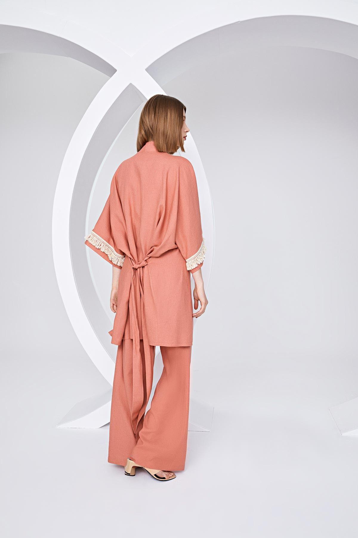 Şerit püsküllü kimono ceket Somon