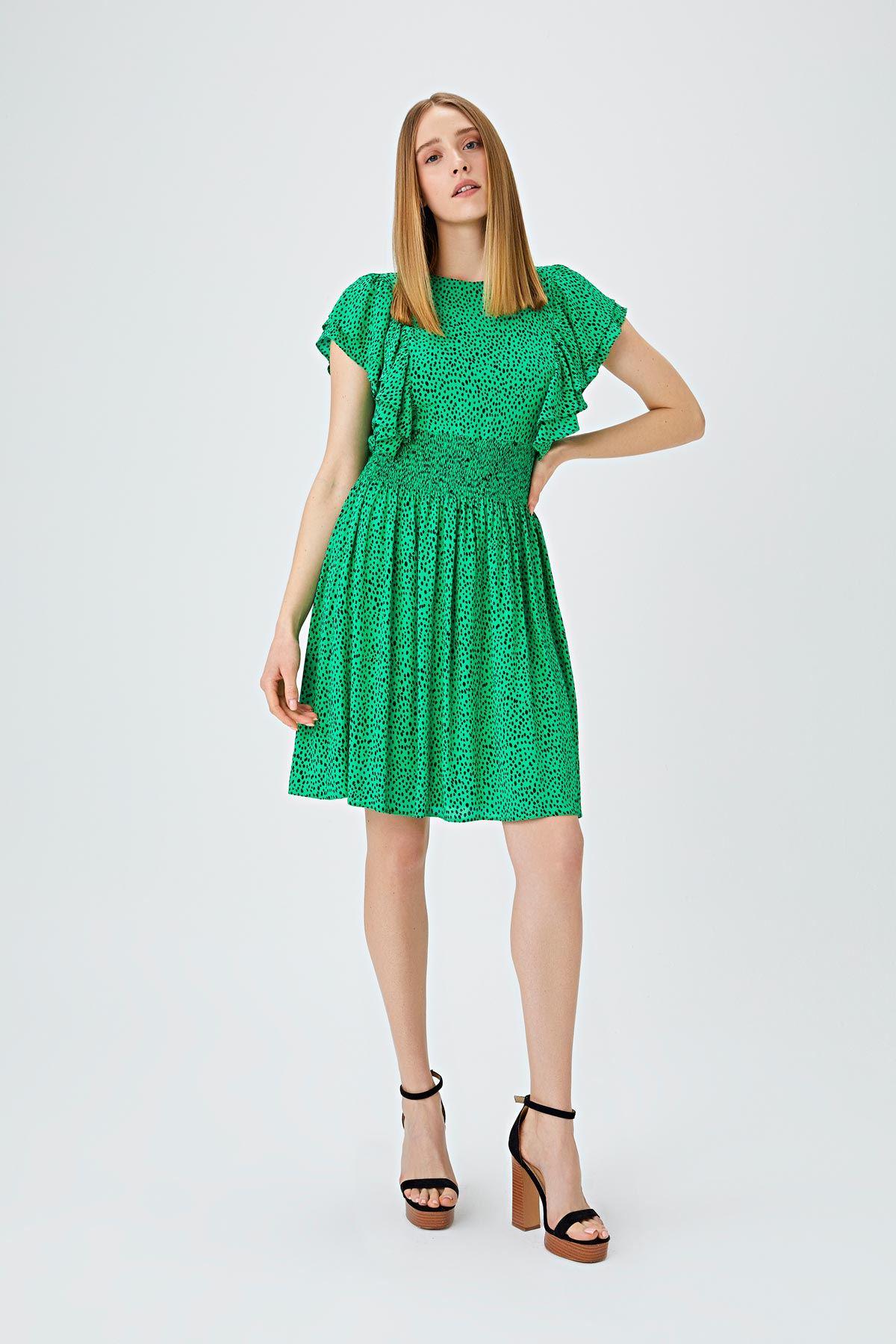 Fırfır şeritli puantiye desenli elbise Yeşil
