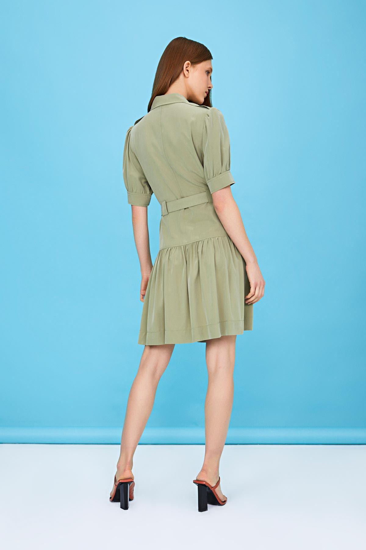 Fırfır şeritli elbise Haki