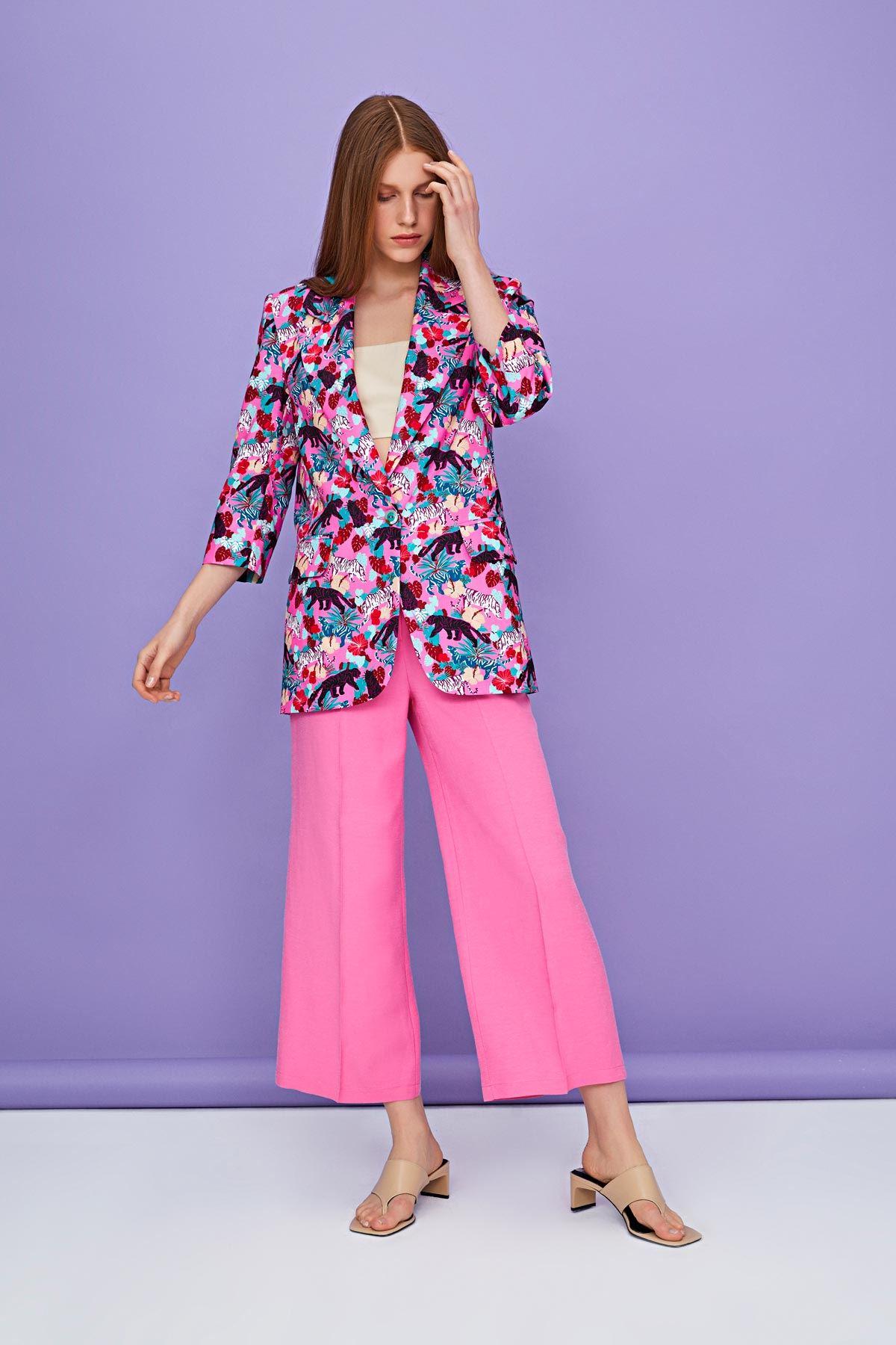 Pink safari desenli truvakar kollu ceket Pembe