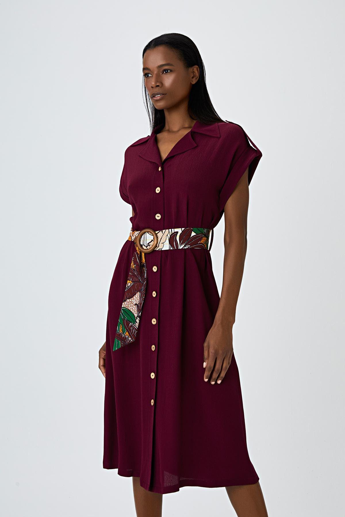 Safari desen kemerli gömlek elbise Bordo
