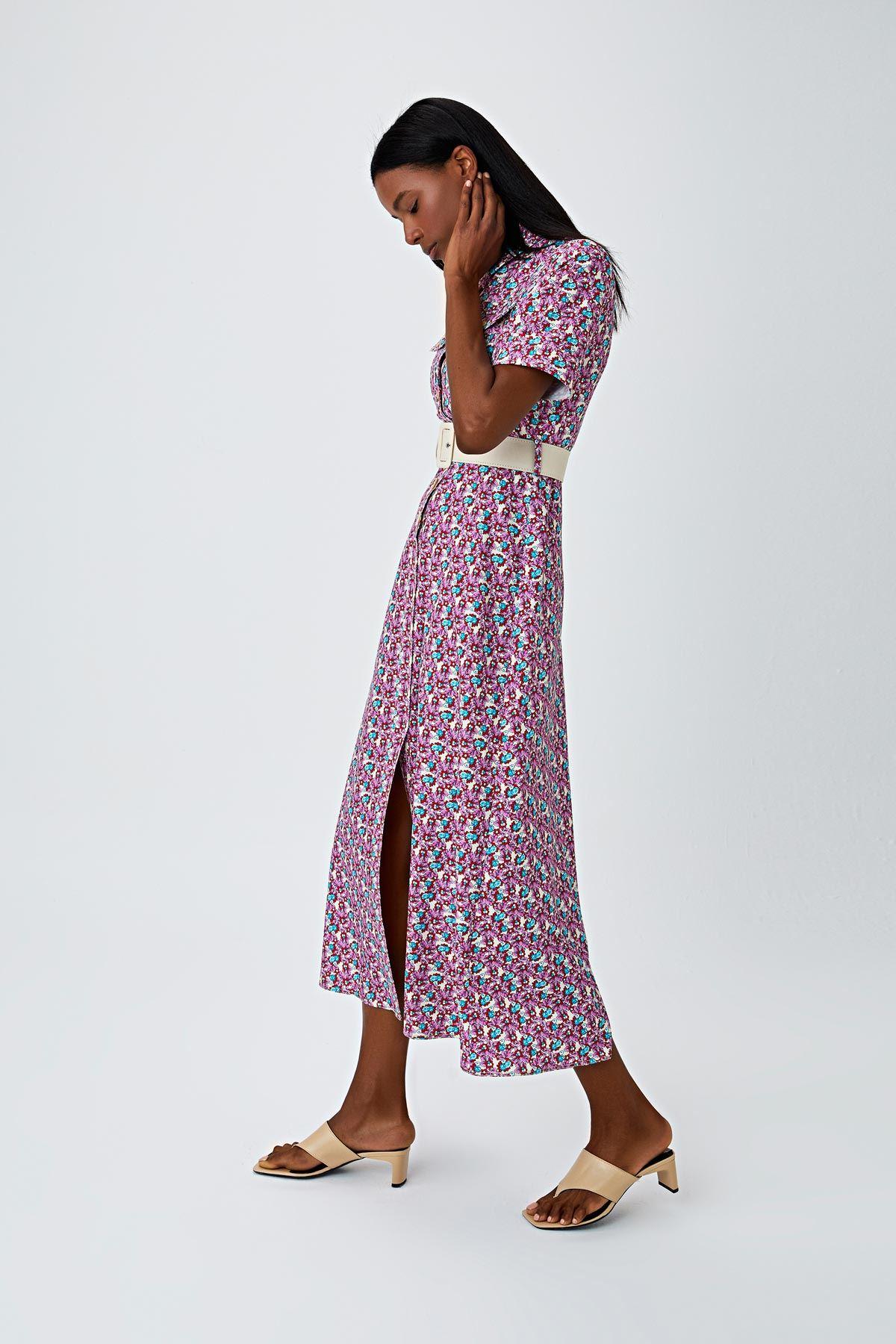 Çiçek desenli kemerli elbise Multi