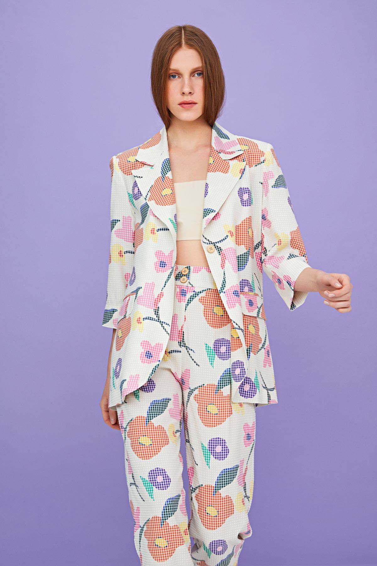 Çiçek desenli ceket Bej