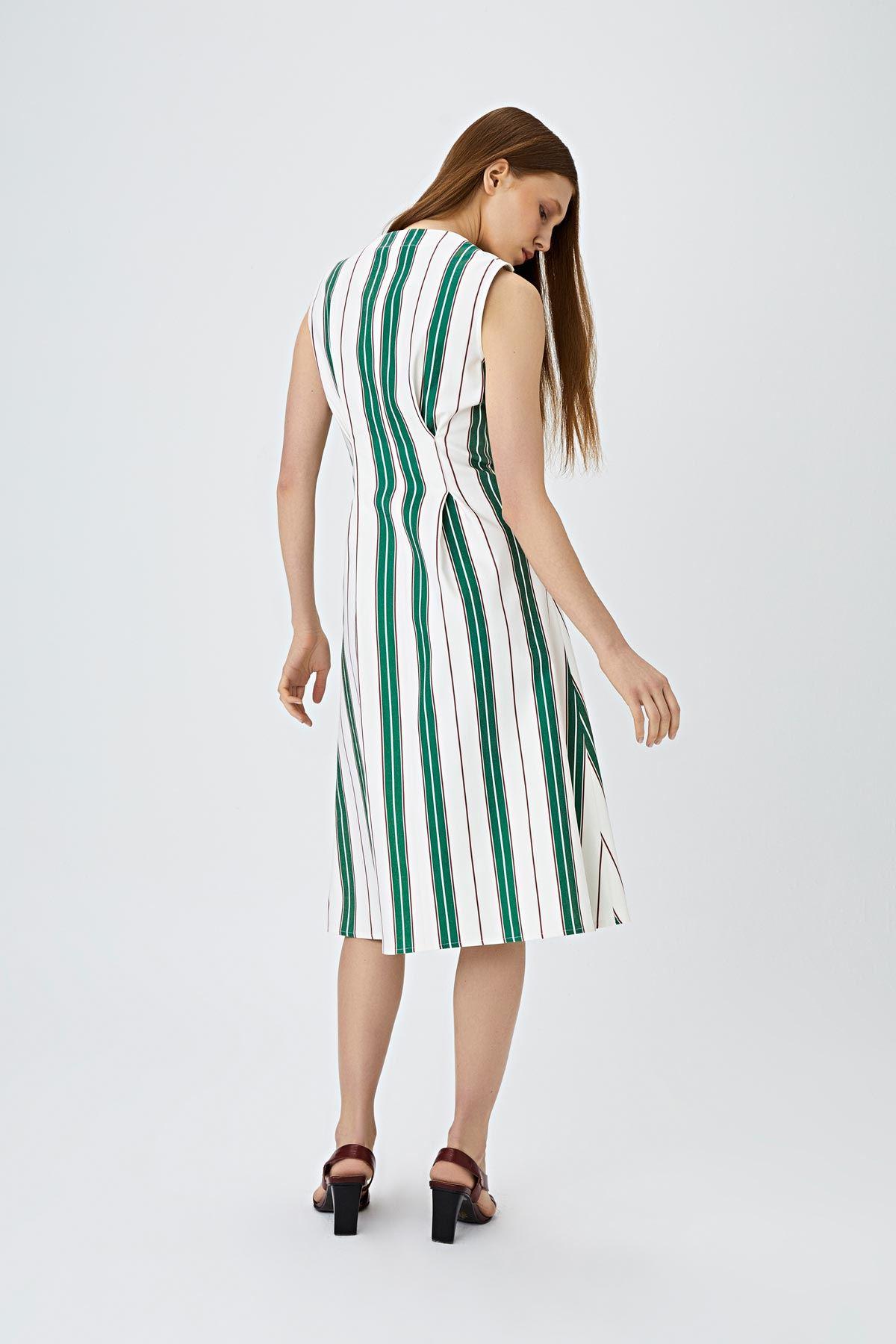 Çizgi desen elbise Yeşil