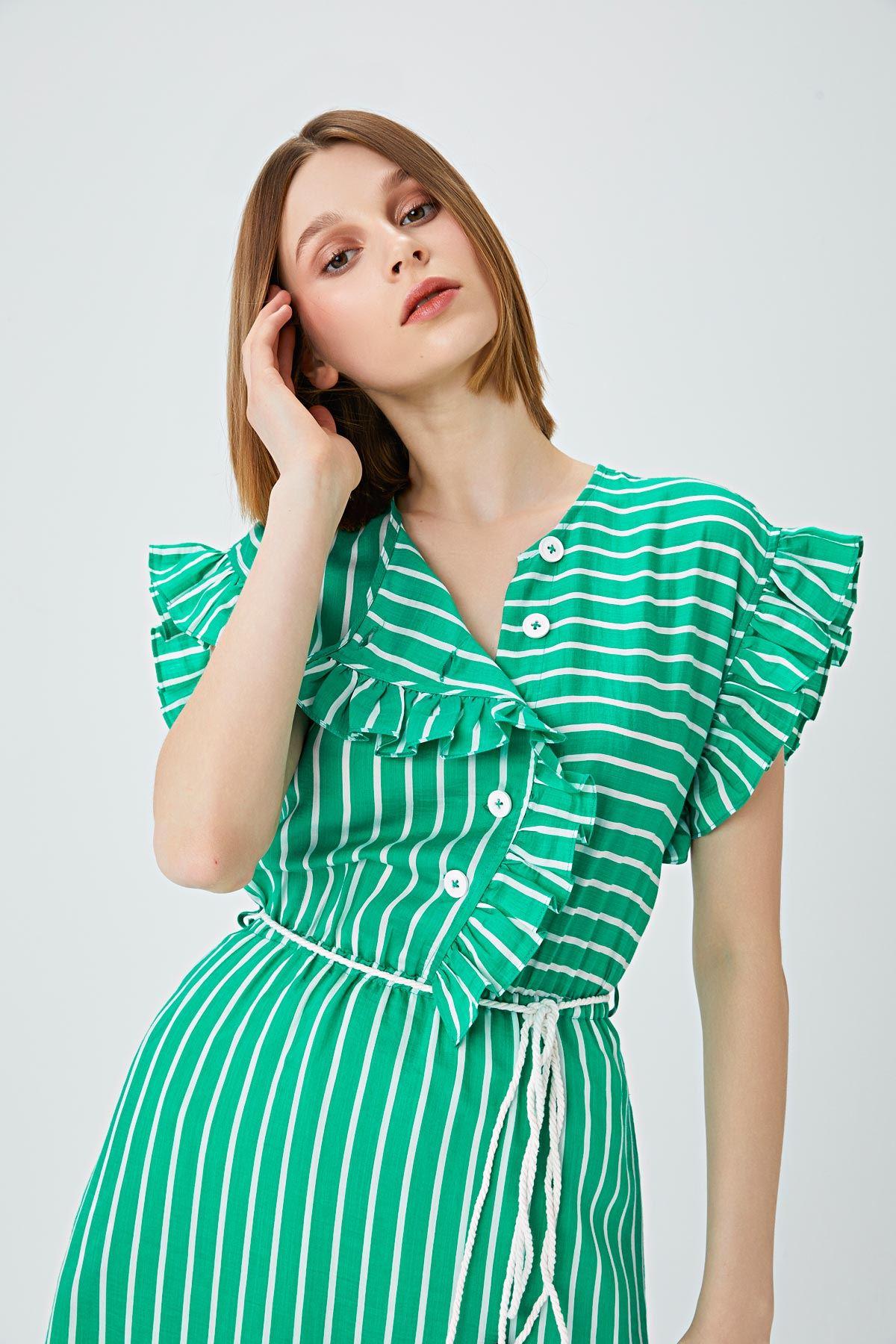 Fırfır şeritli elbise Yeşil