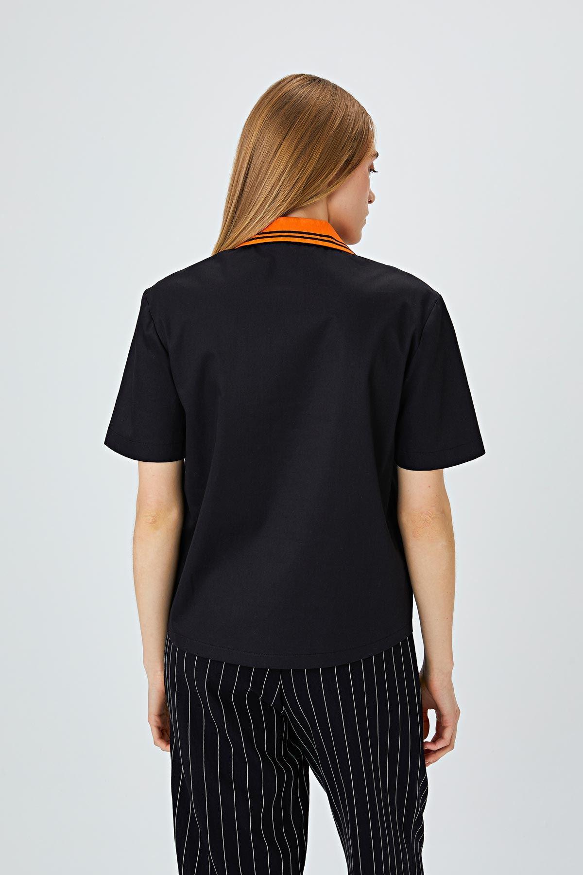 Polo yaka bluz Siyah