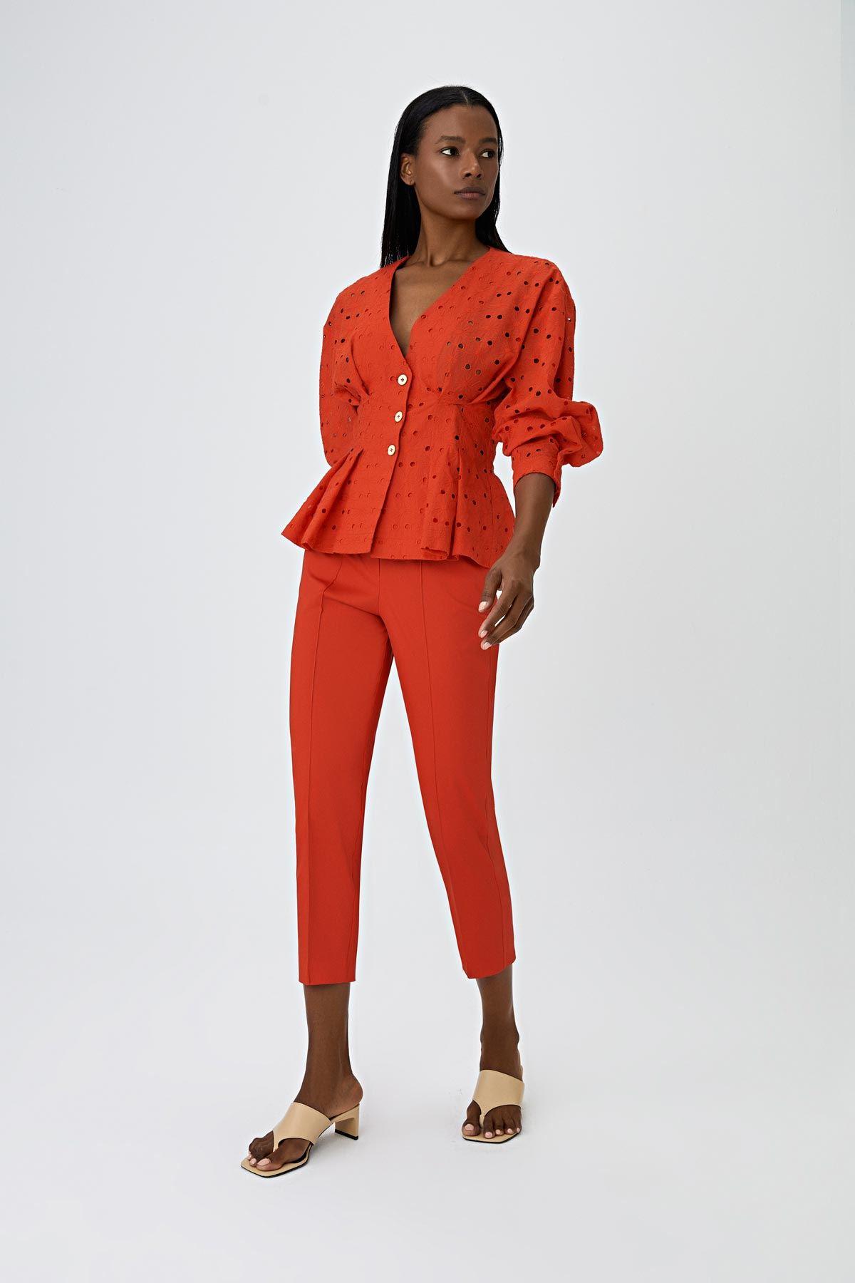 Dikiş detaylı pantolon Mercan