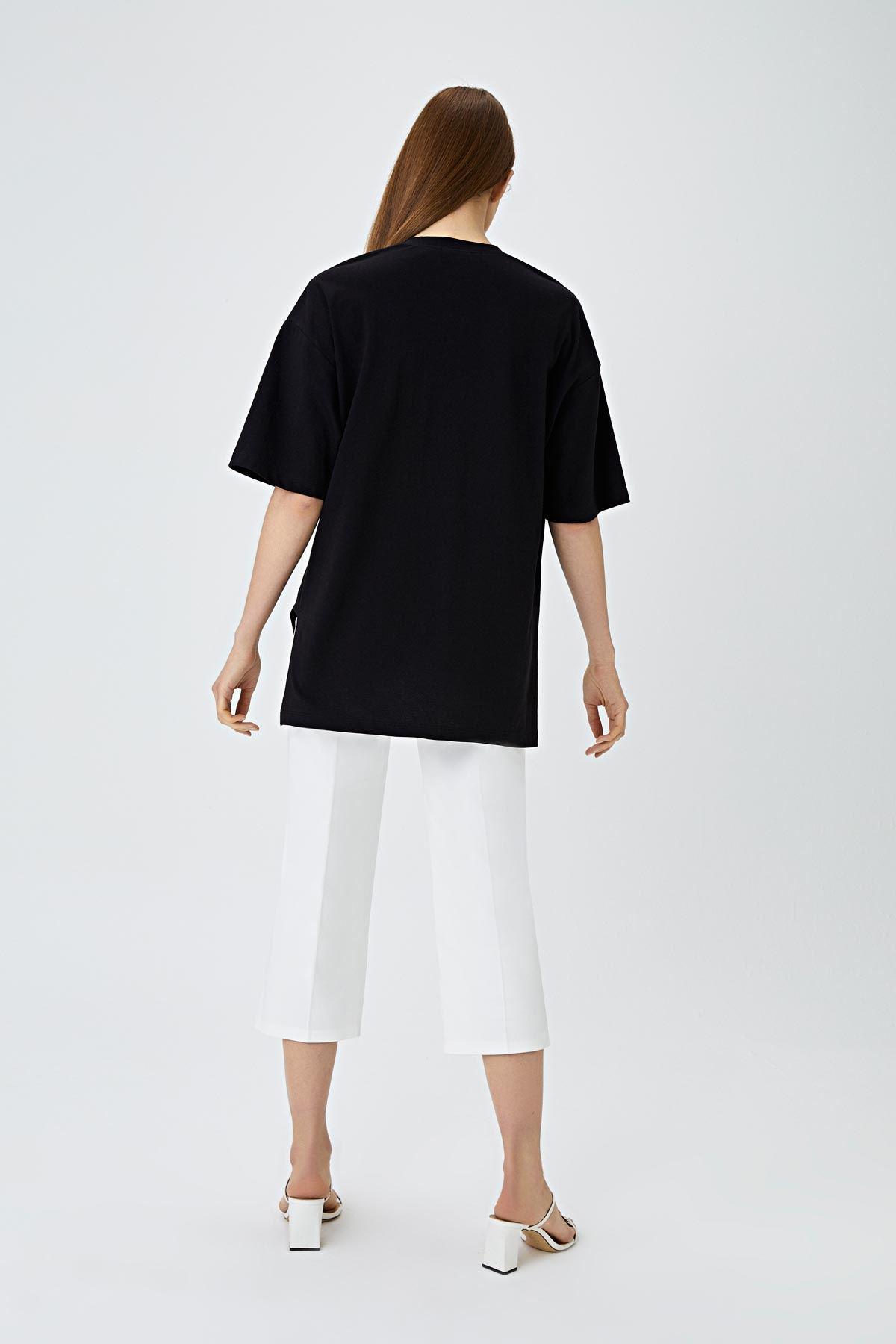Slogan işlemeli t-shirt Siyah