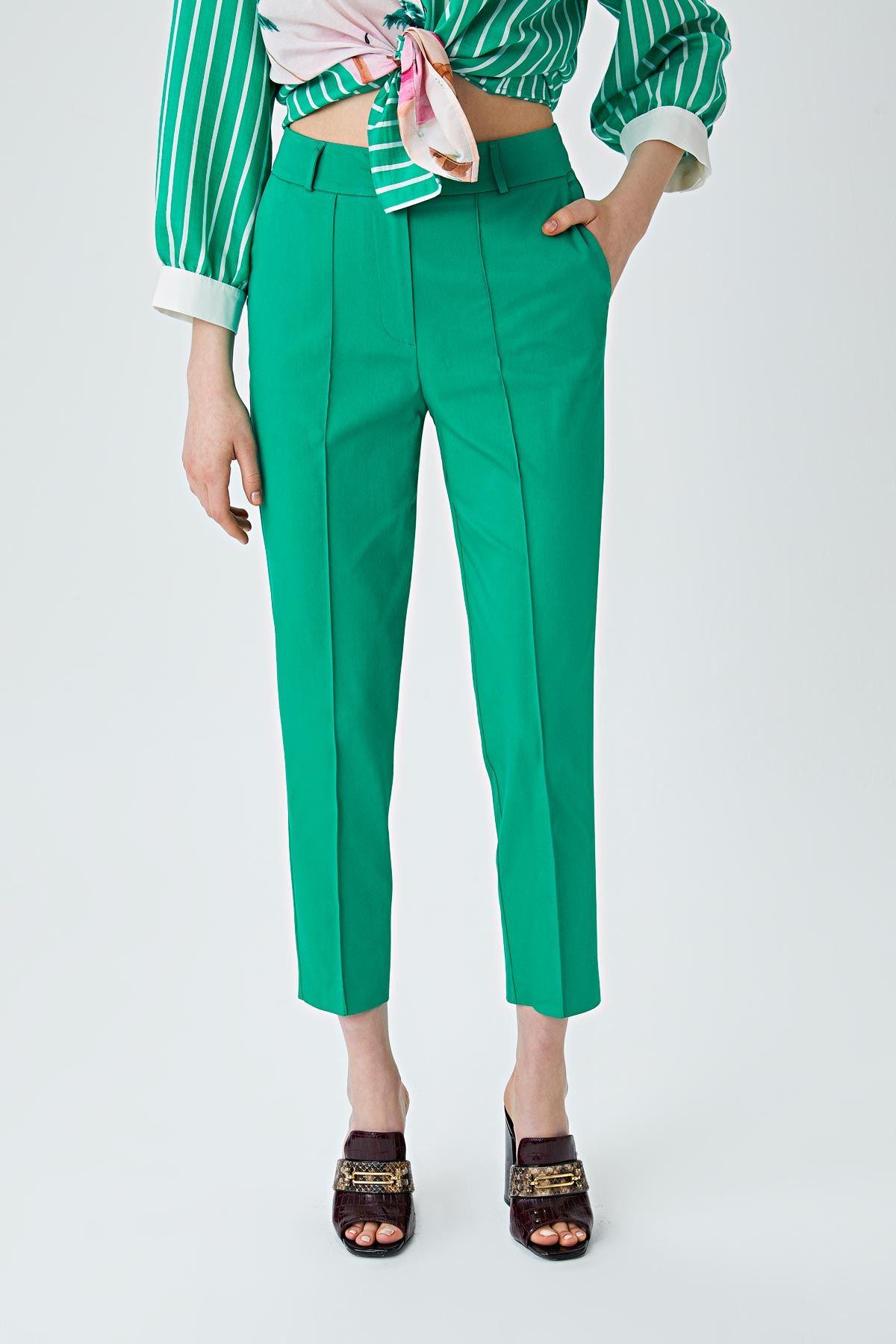 Dikiş detaylı pantolon Yeşil