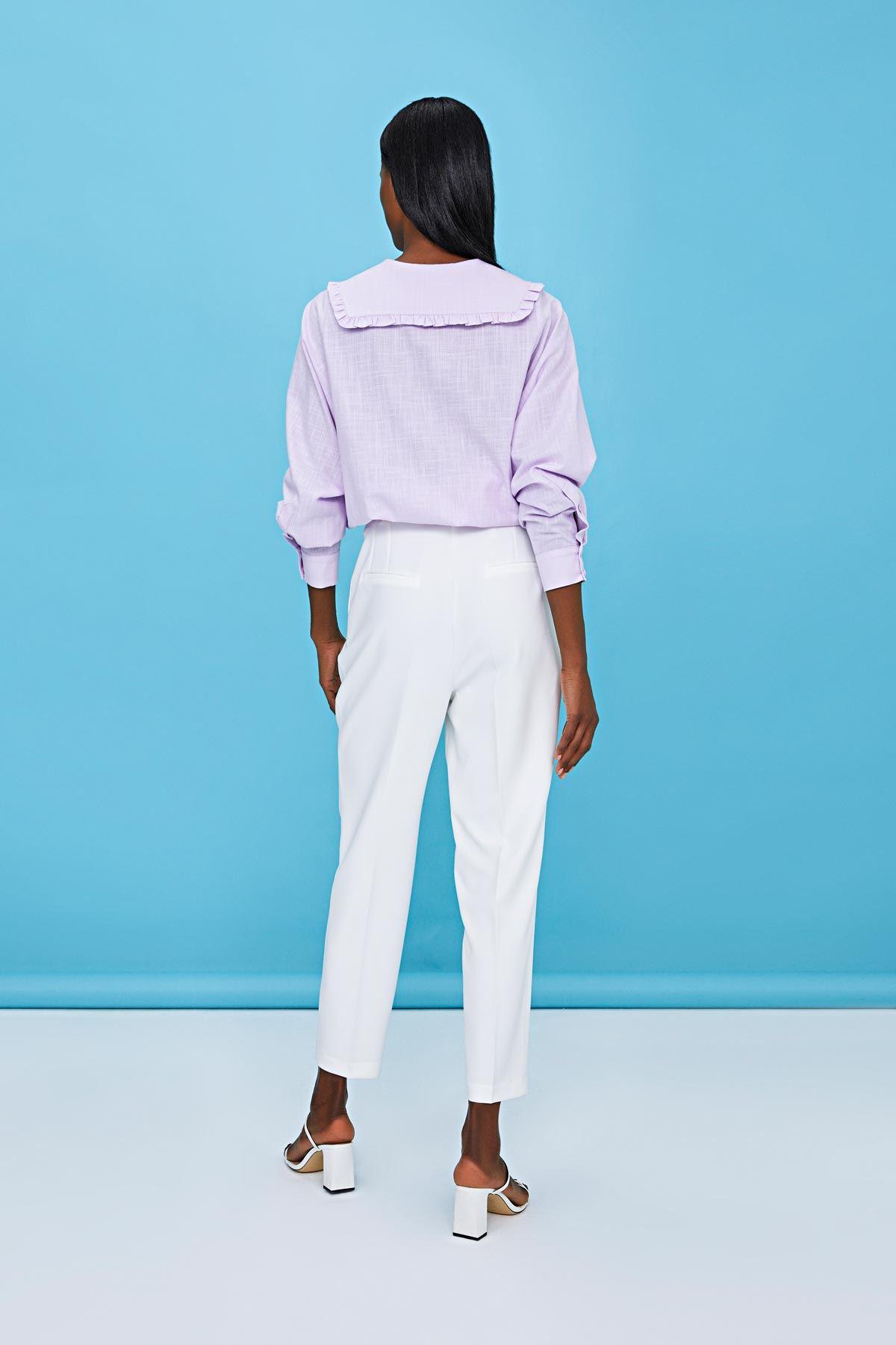 Yüksek bel kemerli pantolon Beyaz