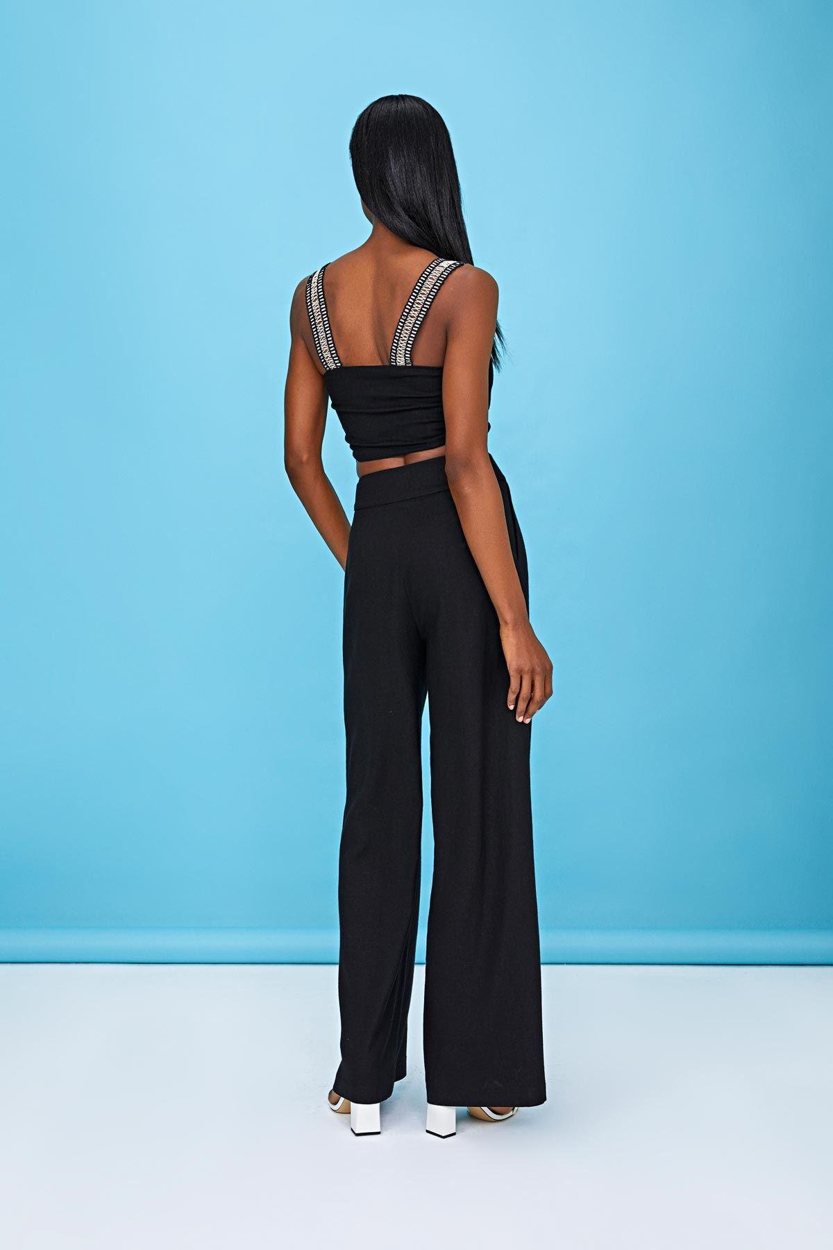 Dökümlü keten pantolon Siyah