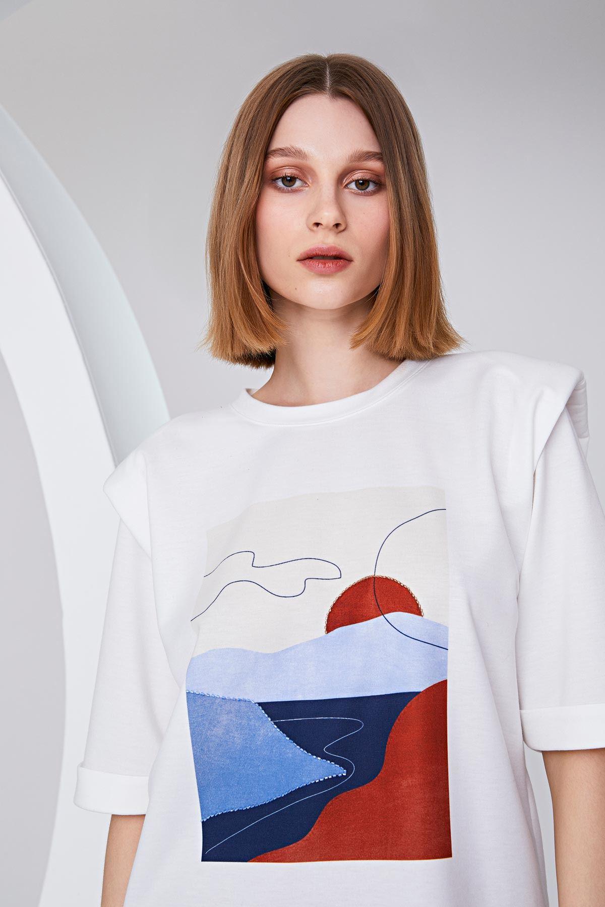 Patch work baskılı t-shirt Ekru