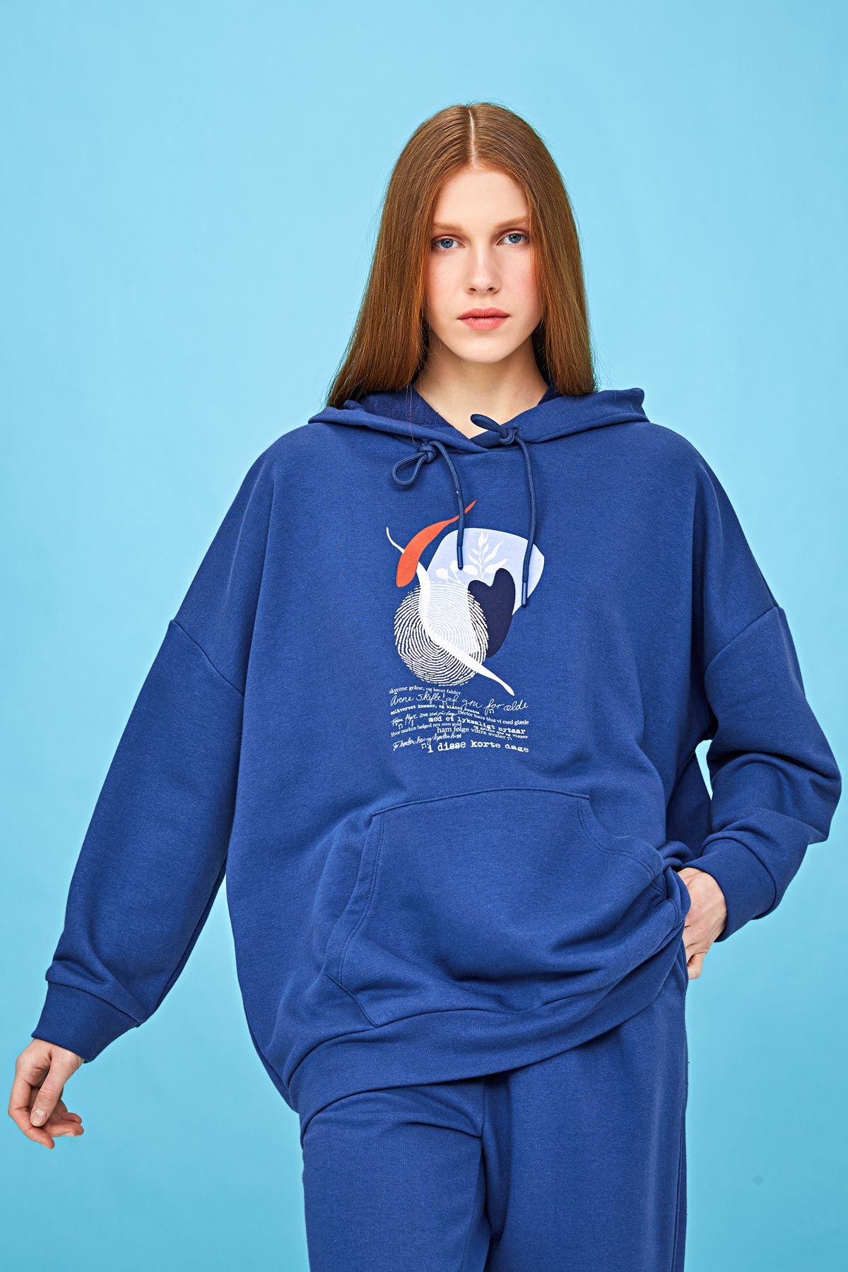 Kapüşonlu sweatshirt İndigo