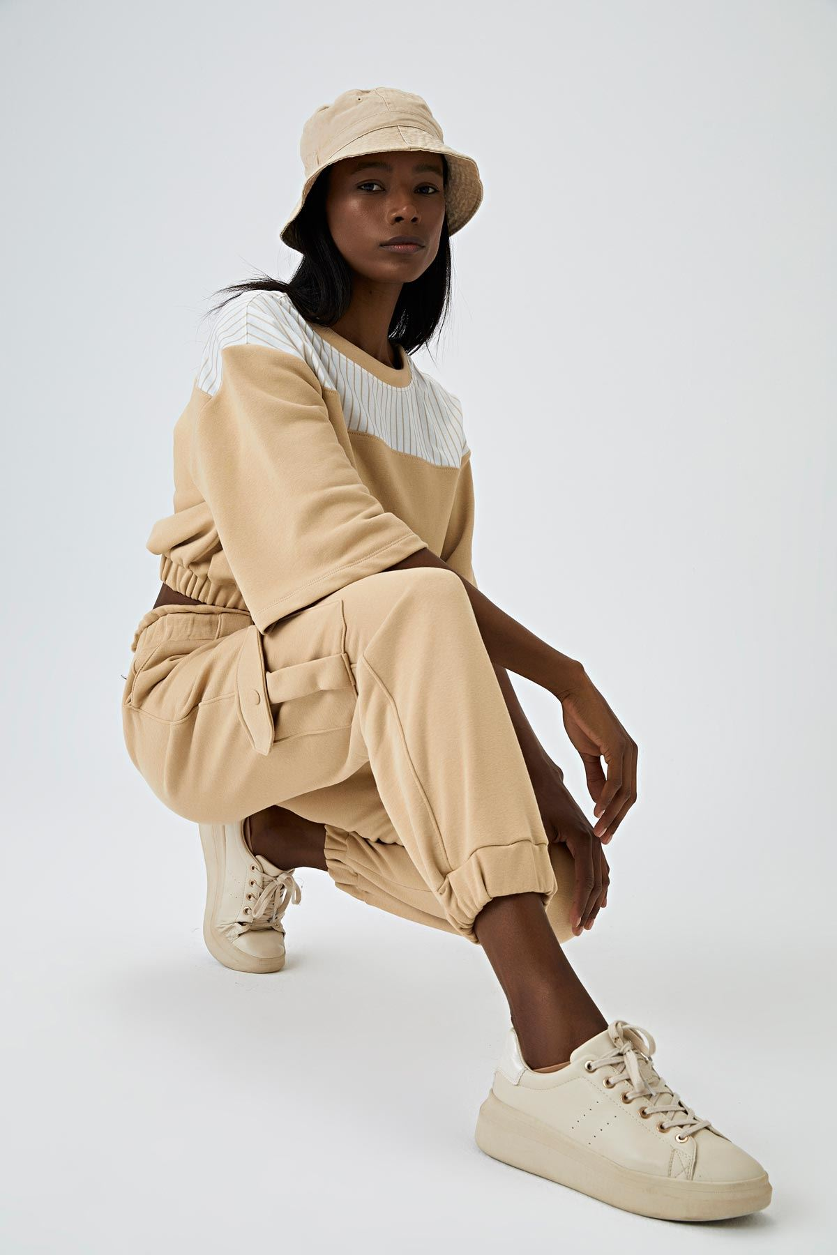 Cropped sweatshirt Bej