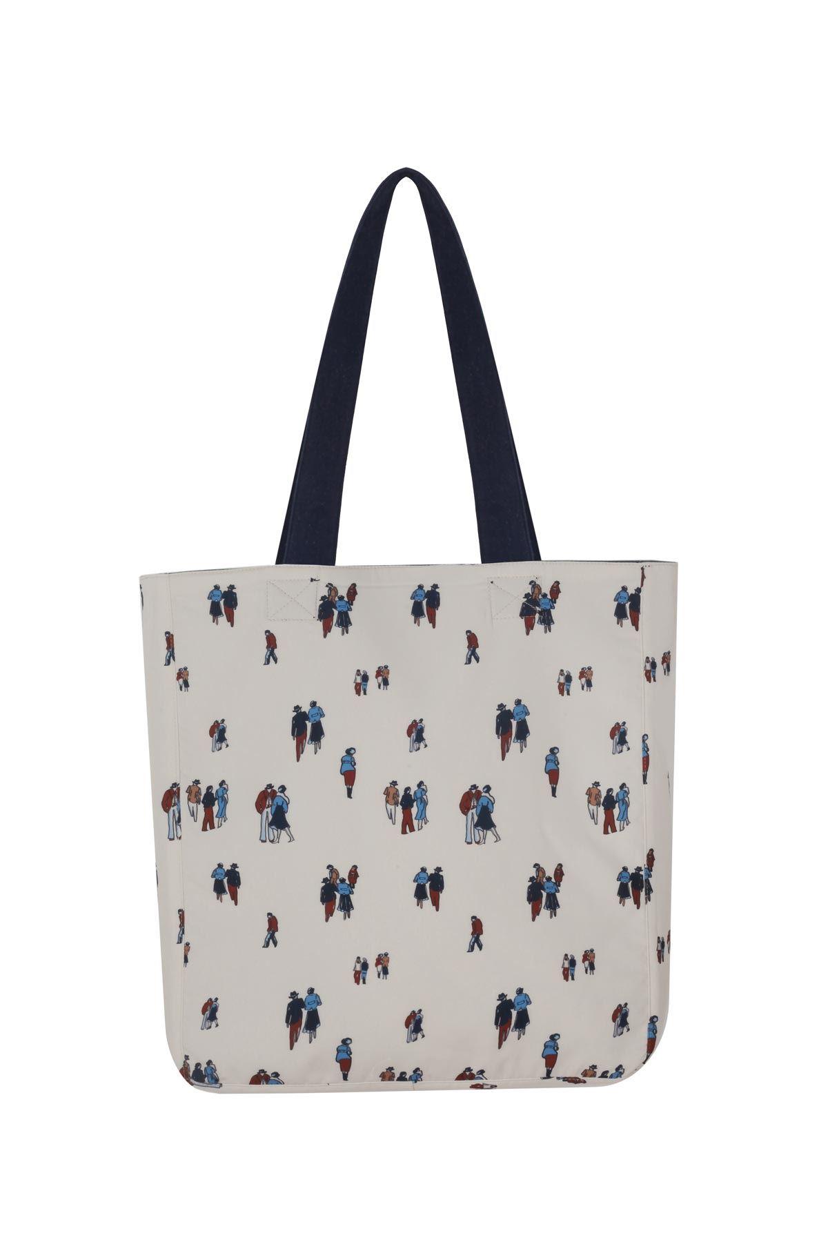 Kadın erkek figürlü çift taraflı kot çanta Mavi