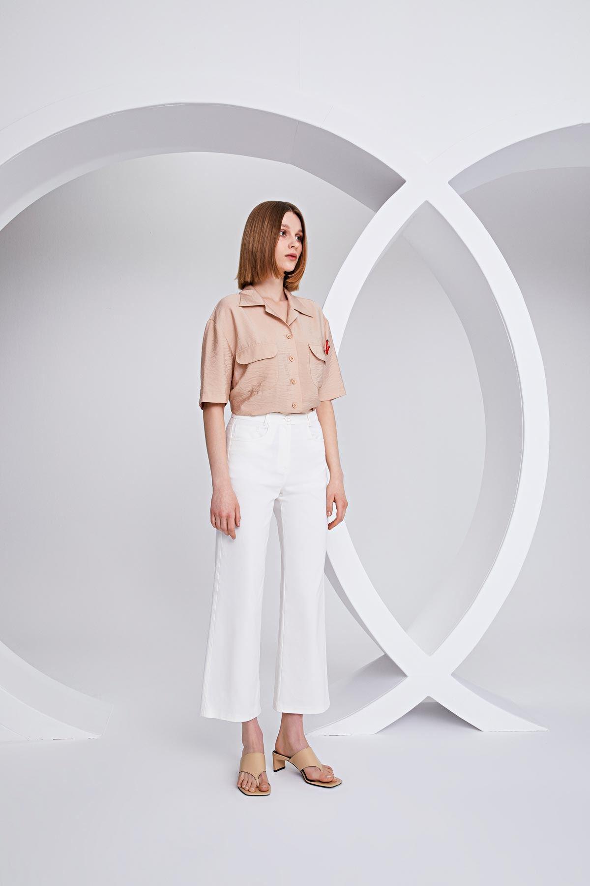 Cepli culotte pantolon Beyaz