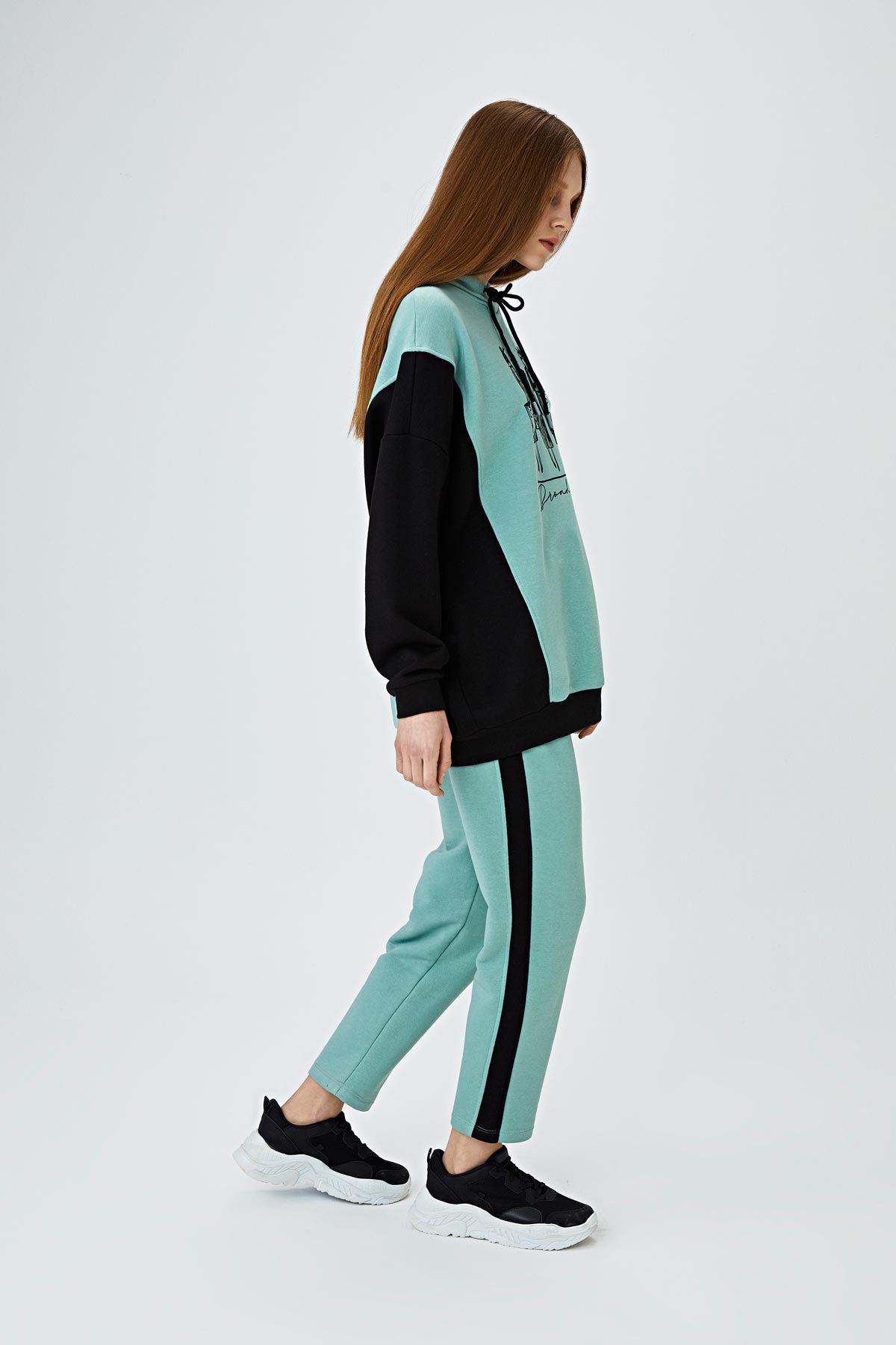 Color block baskılı sweatshirt Mint