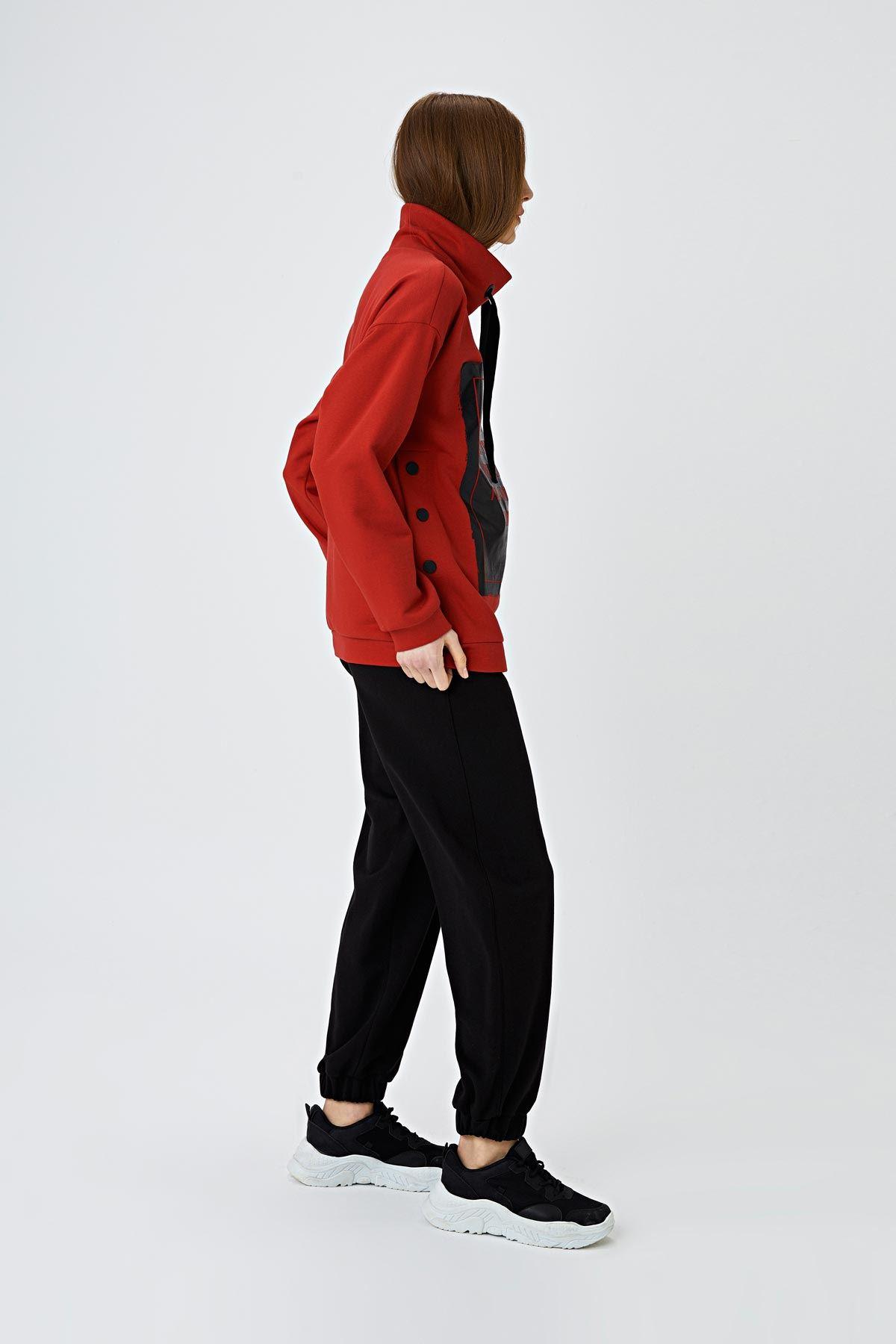 Baskılı sweatshirt Kırmızı