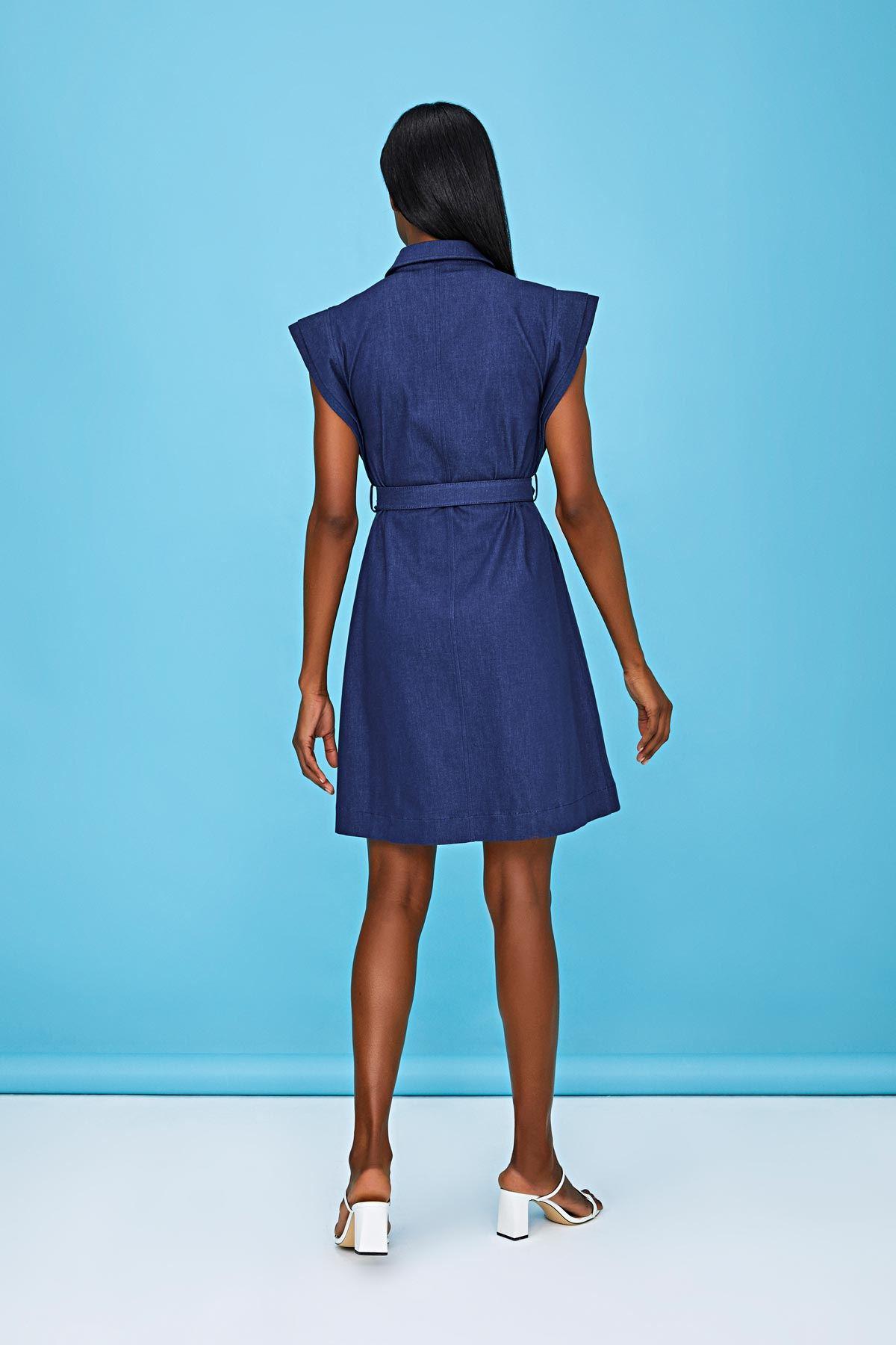 Ön fermuarlı denim elbise Lacivert