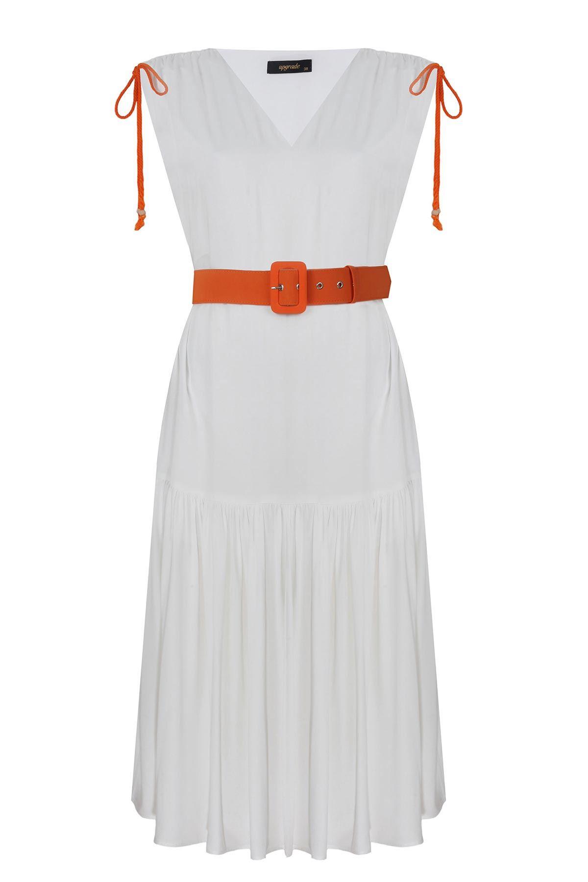 Omuz büzgülü elbise Ekru