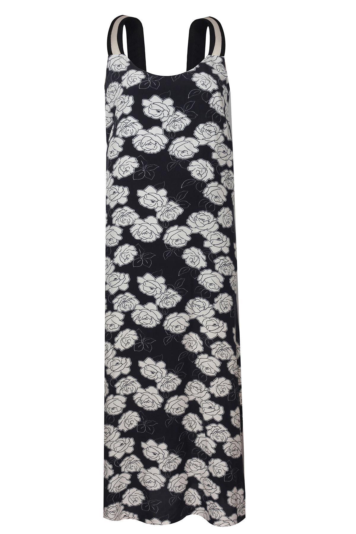 Çiçek desenli maksi elbise Siyah