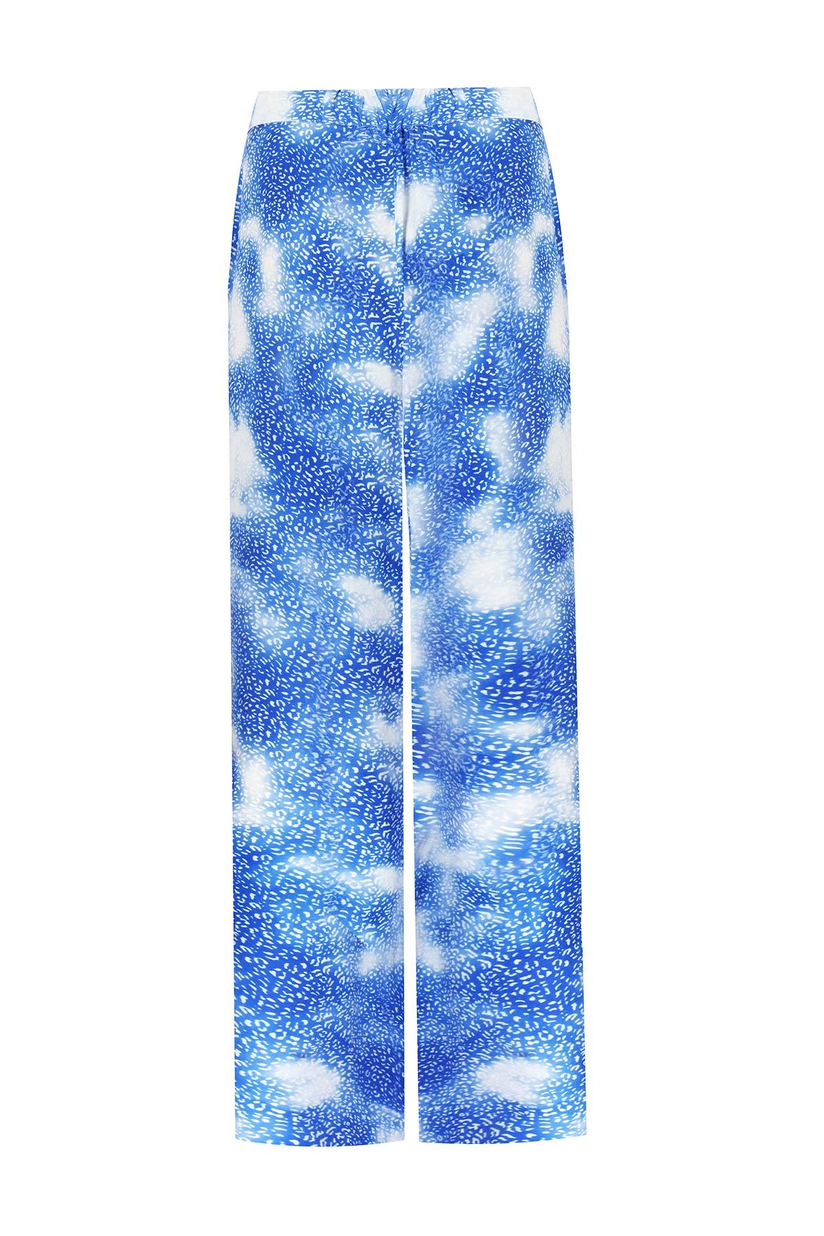 Desenli bol paça pantolon Mavi