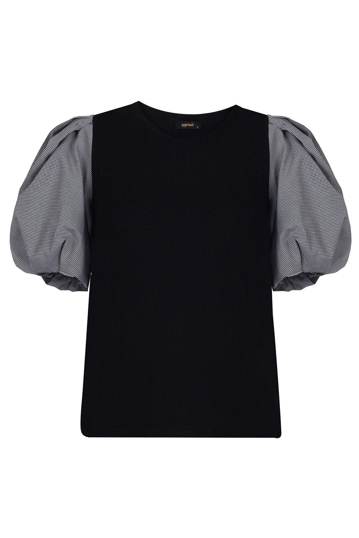 Kumaş mixli balon kol bluz Siyah