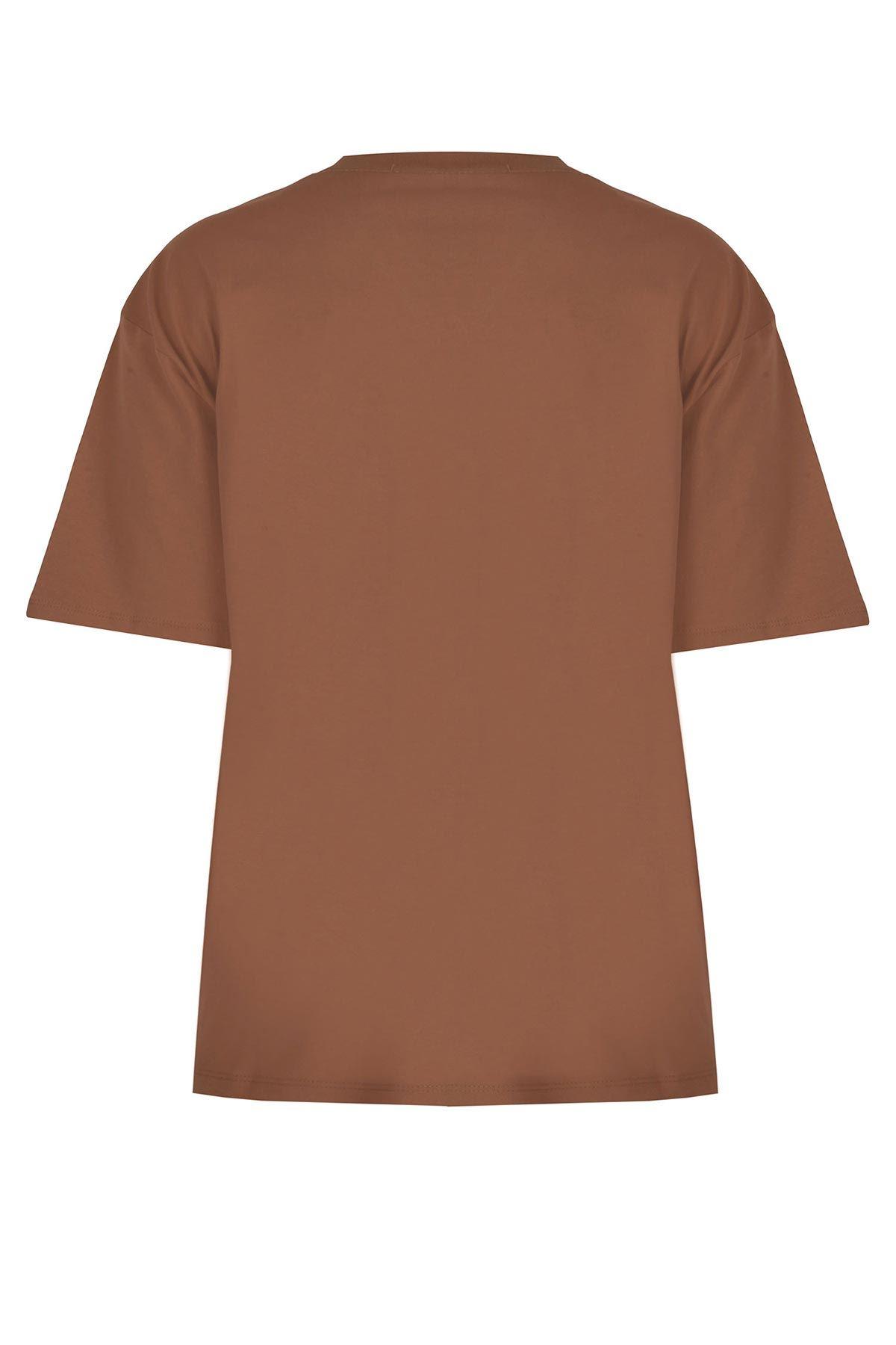 V yaka basic tshırt Kahverengi