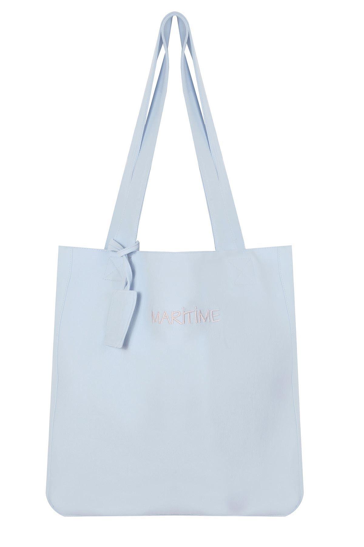 Slogan yazılı çanta Mavi